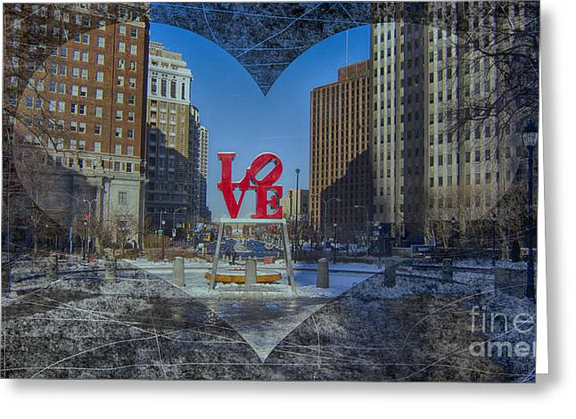 John F. Kennedy Plaza Greeting Cards - Love-Philly V11 Greeting Card by Douglas Barnard