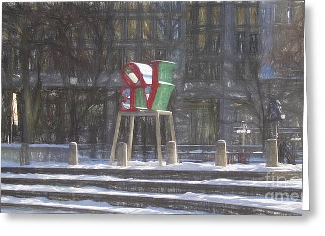 John F. Kennedy Plaza Greeting Cards - Love-Philly V13 Greeting Card by Douglas Barnard