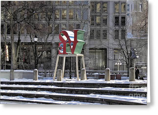 John F. Kennedy Plaza Greeting Cards - Love-Philly V14 Greeting Card by Douglas Barnard