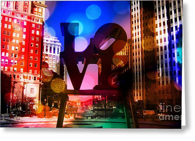 John F. Kennedy Plaza Greeting Cards - Love-Philly V2 Greeting Card by Douglas Barnard