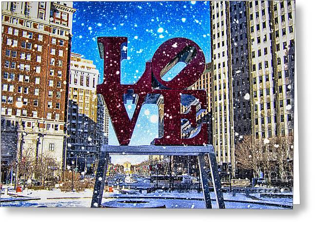 John F. Kennedy Plaza Greeting Cards - Love-Philly V4 Greeting Card by Douglas Barnard