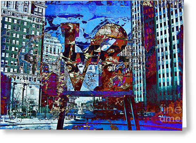 John F. Kennedy Plaza Greeting Cards - Love-Philly V5 Greeting Card by Douglas Barnard