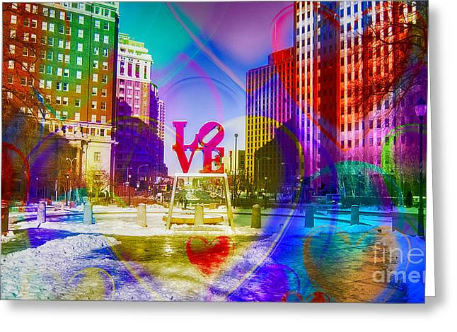 John F. Kennedy Plaza Greeting Cards - Love-Philly V6 Greeting Card by Douglas Barnard