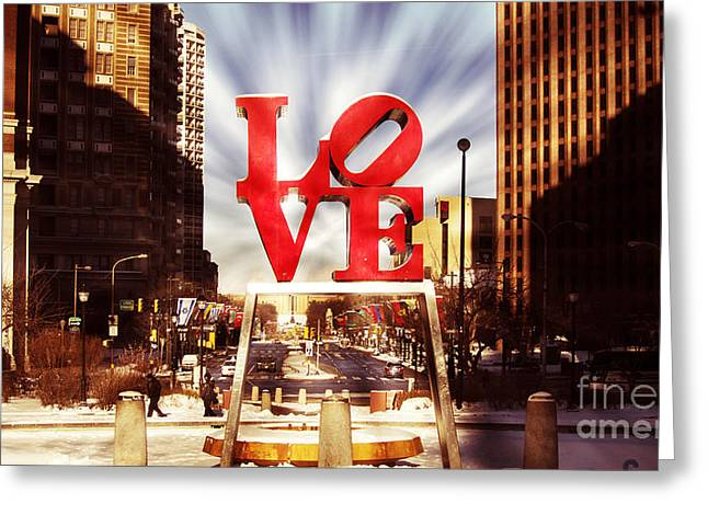 John F. Kennedy Plaza Greeting Cards - Love-Philly V7 Greeting Card by Douglas Barnard