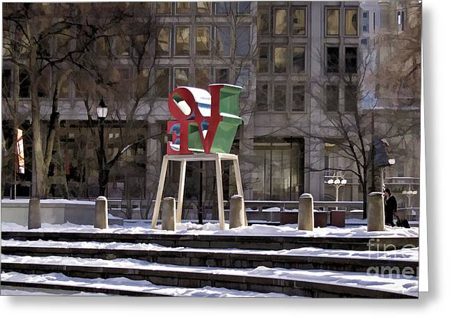 John F. Kennedy Plaza Greeting Cards - Love-Philly V8 Greeting Card by Douglas Barnard