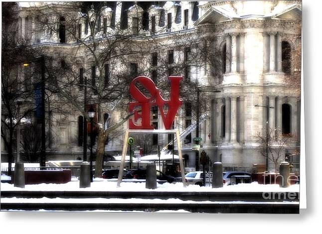 John F. Kennedy Plaza Greeting Cards - Love-Philly V9 Greeting Card by Douglas Barnard