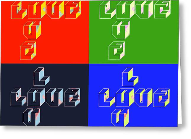 Calligraphic Greeting Cards - Love Pop Art Design Greeting Card by World Art Prints And Designs