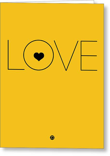 Music Lover Digital Greeting Cards - Love Poster Yellow Greeting Card by Naxart Studio
