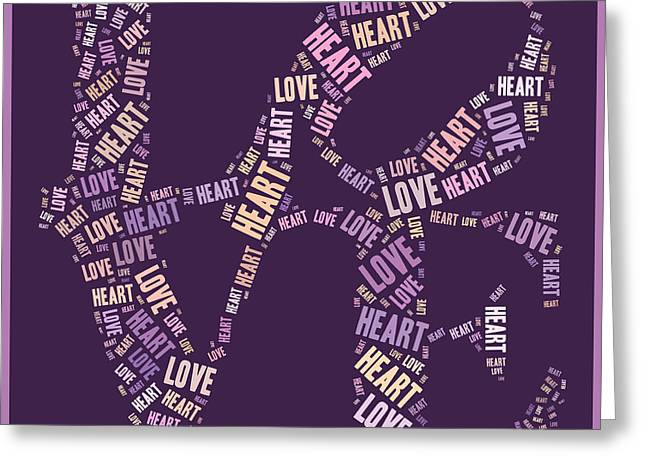 Purples Greeting Cards - Love Quatro - Heart - s77a Greeting Card by Variance Collections