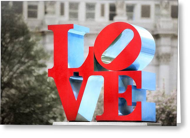 Downtown Franklin Greeting Cards - Love Sculpture - Selective Color - Philadelphia Greeting Card by Photography  By Sai
