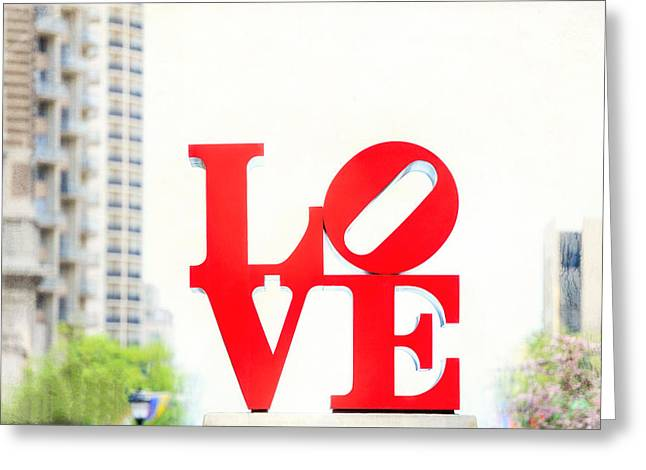 """jfk Plaza"" Greeting Cards - Love Sculpture - John F Kennedy Plaza in Philadelphia - Downtown Greeting Card by Photography  By Sai"