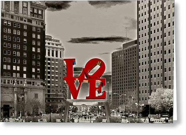 Fountain Greeting Cards - Love Sculpture - Philadelphia - BW Greeting Card by Lou Ford