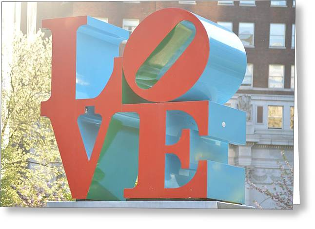 """robert Indiana"" Greeting Cards - LOVE Sculpture Greeting Card by Sonali Gangane"