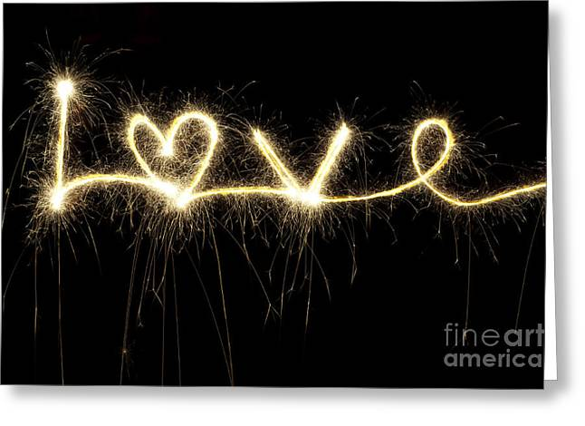 Sparklers Greeting Cards - Love Shines Brightly Greeting Card by Tim Gainey
