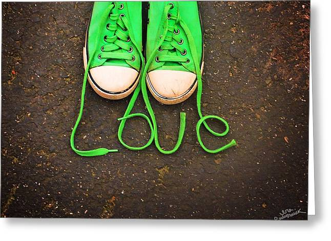 Sneaker Lace Greeting Cards - Love Sneakers Greeting Card by Ira Glushchik
