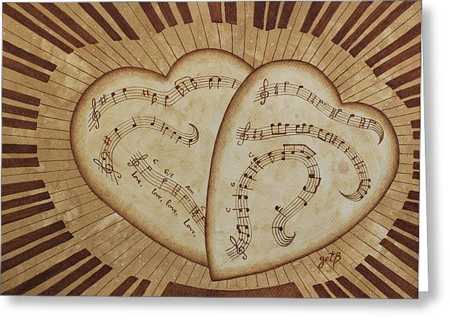 Heart Song Greeting Cards - Love Song Of Our Hearts Greeting Card by Georgeta Blanaru