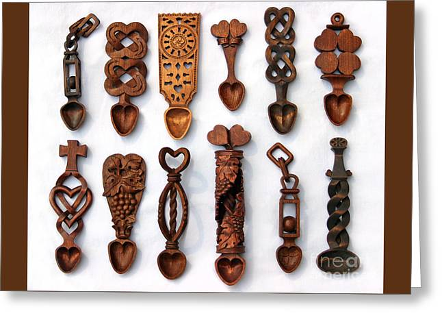 Carved Sculptures Greeting Cards - Love Spoons Greeting Card by Karen Adams
