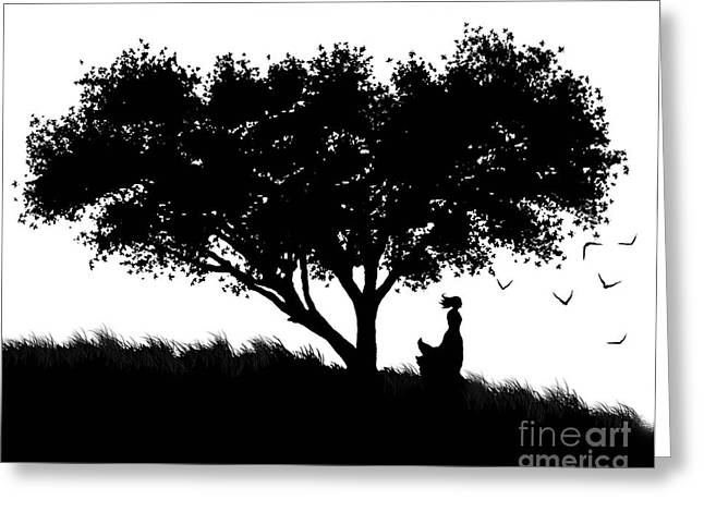 Mystical Landscape Greeting Cards - Love Stands Waiting Greeting Card by Robert Foster