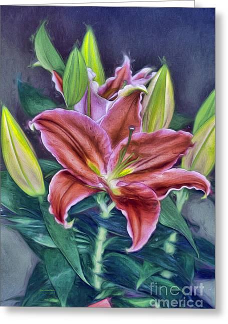 Deep Pink Greeting Cards - Love Story Lily Greeting Card by Deborah Benoit