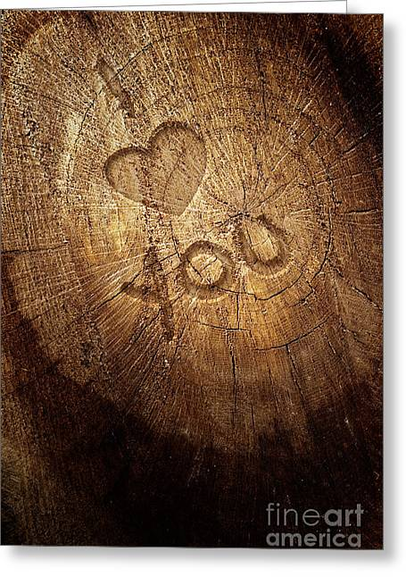 Mythja Greeting Cards - Love text on  wooden background Greeting Card by Mythja  Photography