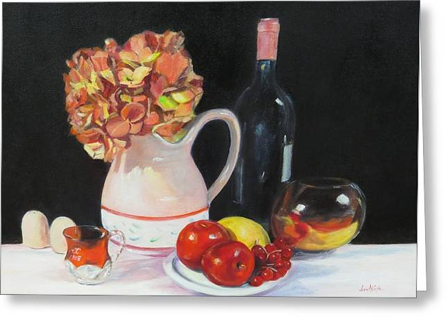 Red Wine Bottle Greeting Cards - Love that Red Greeting Card by Jean Costa