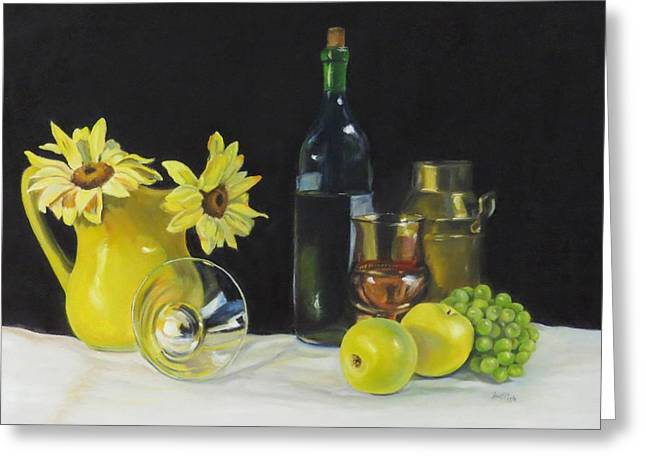 Still Life With Green Apples Greeting Cards - Love that Yellow Greeting Card by Jean Costa