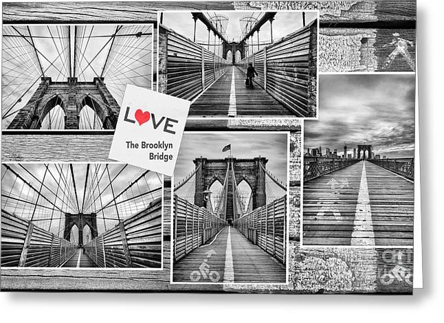 U.s.a Greeting Cards - Love the Brooklyn Bridge Greeting Card by John Farnan