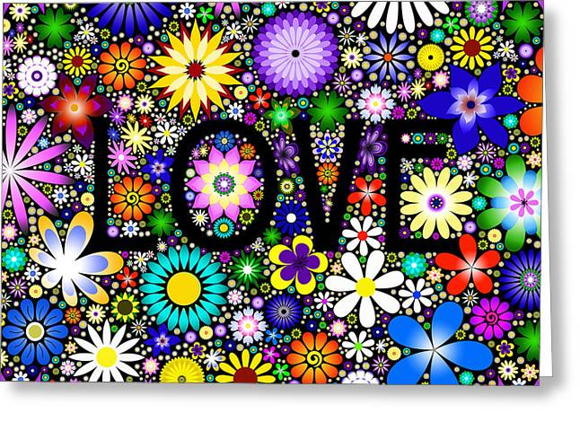 Lovely Digital Art Greeting Cards - Love the Flowers Greeting Card by Tim Gainey