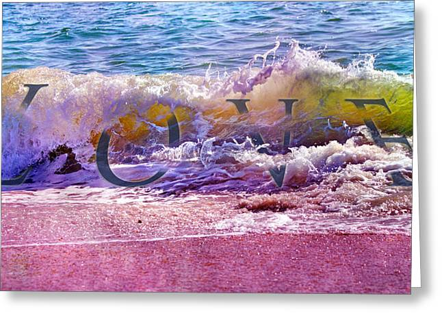 Atlantic Beaches Mixed Media Greeting Cards - Love the Wave Greeting Card by Betsy C  Knapp