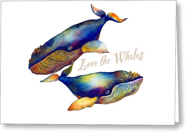 Love The Whales Greeting Card by Michelle Scott