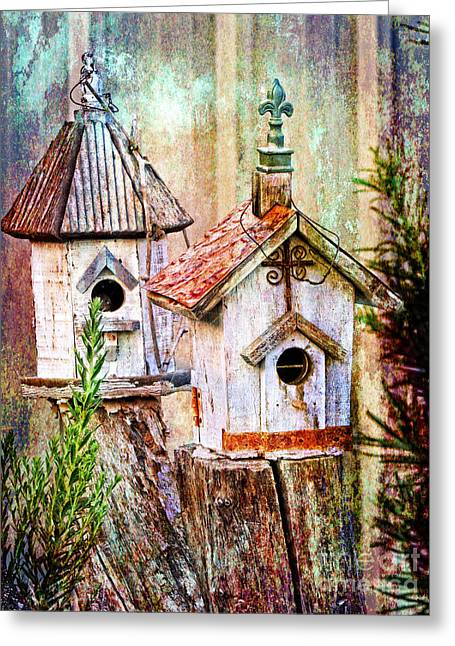 Inspirational Wildlife Prints Greeting Cards - Love Thy Neighbor - Birdhouses Greeting Card by Ella Kaye Dickey