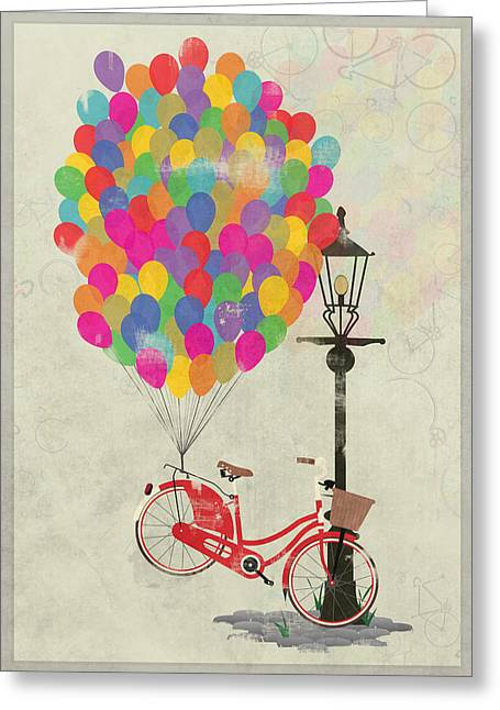 Girl Sports Greeting Cards - Love to Ride my Bike with Balloons even if its not practical. Greeting Card by Andy Scullion