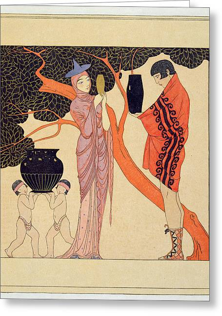 Greek Art Greeting Cards - Love Token Greeting Card by Georges Barbier