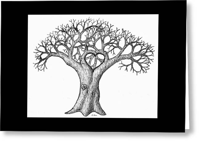 Gnarled Drawings Greeting Cards - Love Tree Greeting Card by Roger Reeves  and Terrie Heslop
