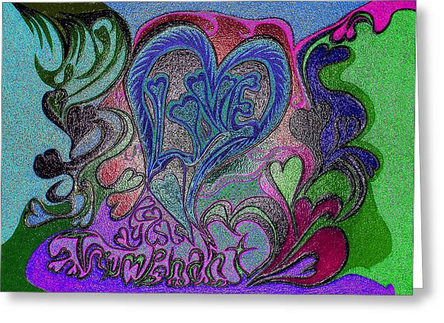 Mind Freedom. Art Therapy Greeting Cards - Love Triumphant 1of3 V7 Greeting Card by Kenneth James