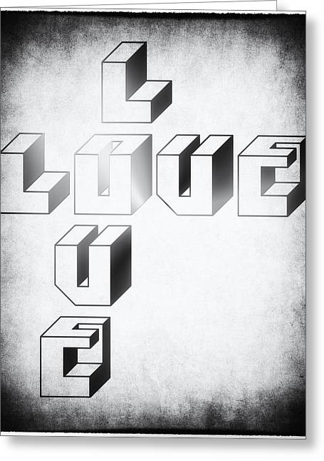 Calligraphic Greeting Cards - Love Typography Monochrome Greeting Card by World Art Prints And Designs