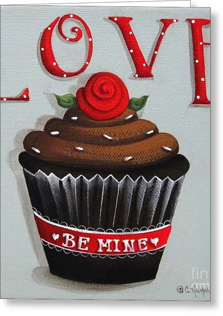 Cupcake Paintings Greeting Cards - Love Valentine Cupcake Greeting Card by Catherine Holman