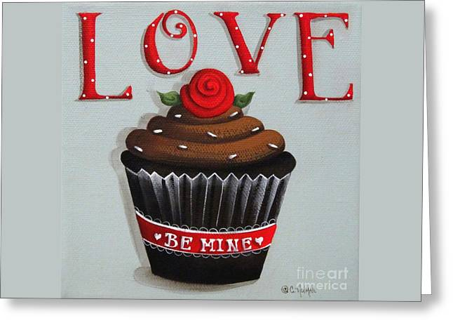 Love Valentine Cupcake Greeting Card by Catherine Holman