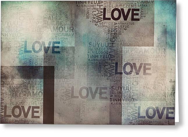 I Write Greeting Cards - Love. Vintage I Greeting Card by Jenny Rainbow