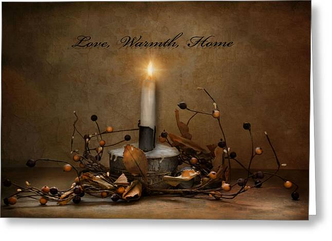Candlelight Greeting Cards - Love Warmth Home Greeting Card by Robin-lee Vieira