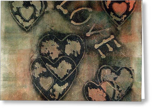 Geometric Shape Reliefs Greeting Cards - Love Will Find You II Greeting Card by Yael VanGruber
