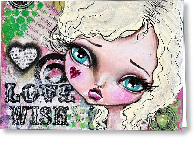Oddballartco Greeting Cards - Love Wish Dream Greeting Card by Lizzy Love of Oddball Art Co