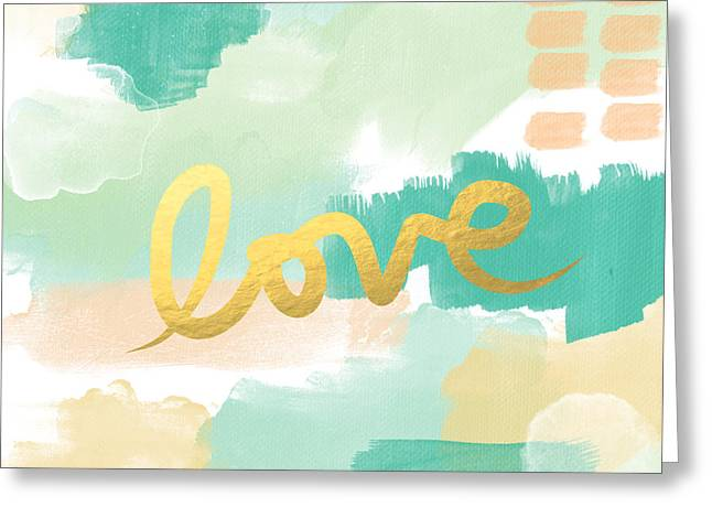 Family Love Greeting Cards - Love with Peach and Mint Greeting Card by Linda Woods