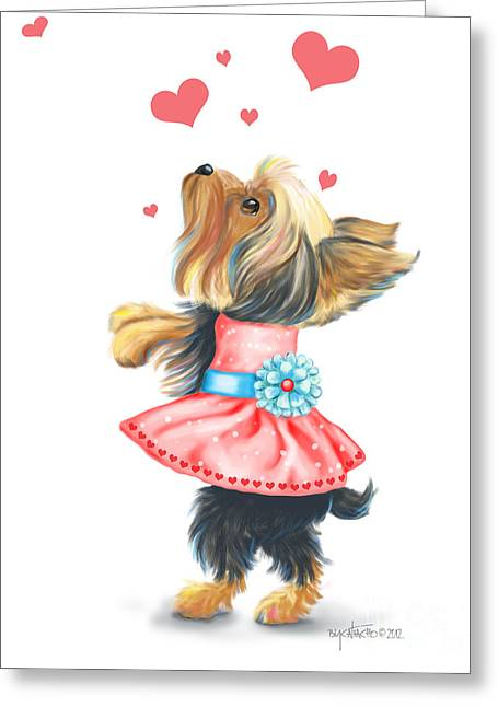 Puppies Mixed Media Greeting Cards - Love without ends Greeting Card by Catia Cho
