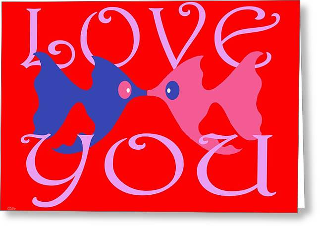 Decorative Fish Greeting Cards - Love You 4 Greeting Card by Patrick J Murphy
