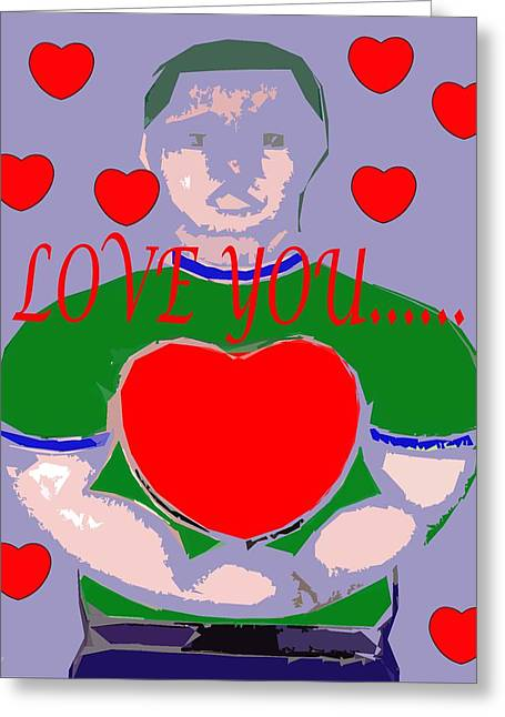Buy Tshirts Mixed Media Greeting Cards - Love You 6 Greeting Card by Patrick J Murphy