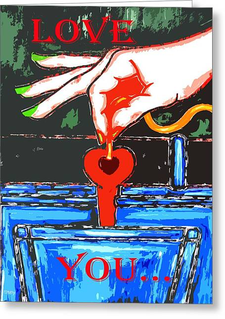 Buy Tshirts Mixed Media Greeting Cards - Love You 9 Greeting Card by Patrick J Murphy