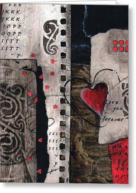 Stencil Mixed Media Greeting Cards - Love you forever Greeting Card by Laura  Lein-Svencner