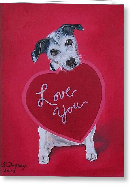 Puppies Paintings Greeting Cards - Love You Greeting Card by Sharon Duguay