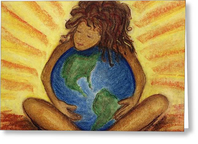 Planet Earth Pastels Greeting Cards - Love Your World  Greeting Card by Stacy Ollmann